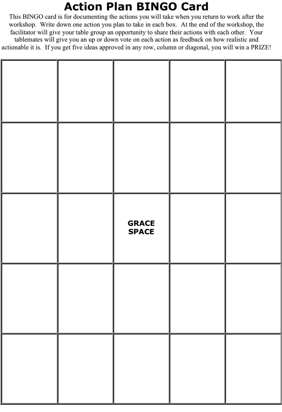 worksheet Bingo Worksheet action plan teach them bingo card